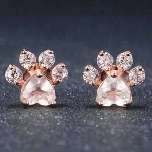COMING SOON! Rose Gold Dog Paw Earrings